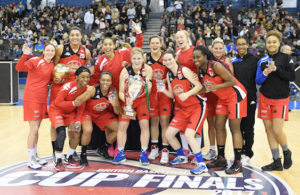 BIRMINGHAM - JANUARY 15: Manchester Mystics celebrate winning the 2017 WBBL Cup final after beating the Nottingham Wildcats on January 15th, 2017 at the Barclaycard Arena, Birmingham. Mandatory Copyright Notice: Copyright 2017 Ahmedphotos. Photo by Mansoor Ahmed/Ahmedphotos.